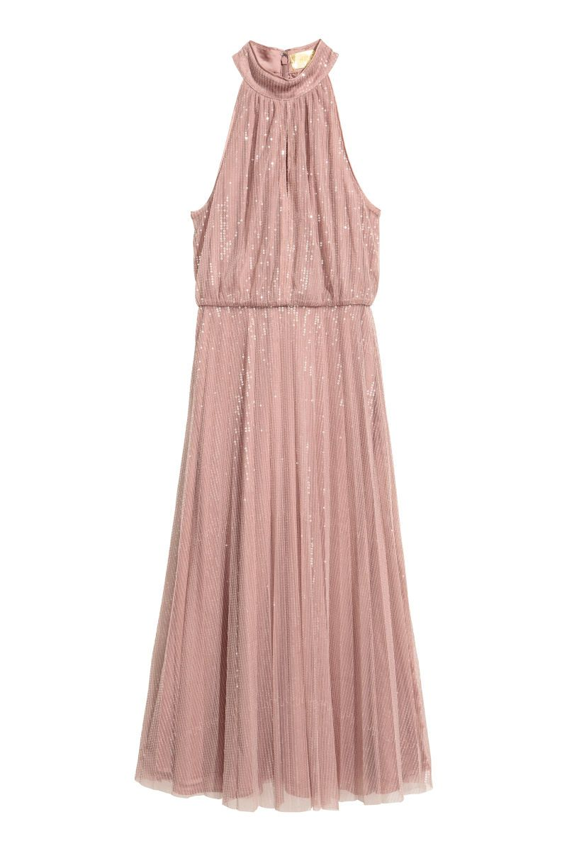 H&M Sequined Dress blush dark powder pink bridesmaids dress sequin ...