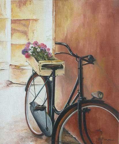 Le vélo et le cageot de fleurs
