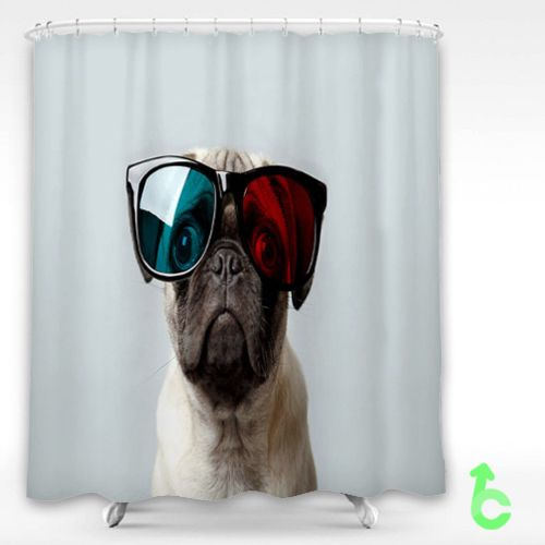 Dog Pug Funny Glasses Shower Curtain Chanel Outlet Funny