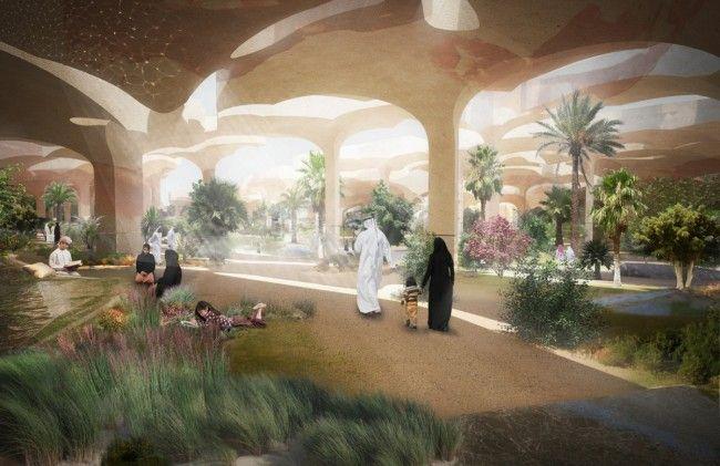 Heatherwick Studio Submerges an Oasis-Like Park Under Abu Dhabi's Cracked Desert Floor - Land8.com