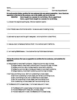 Ela Commas With Appositives Worksheet 1