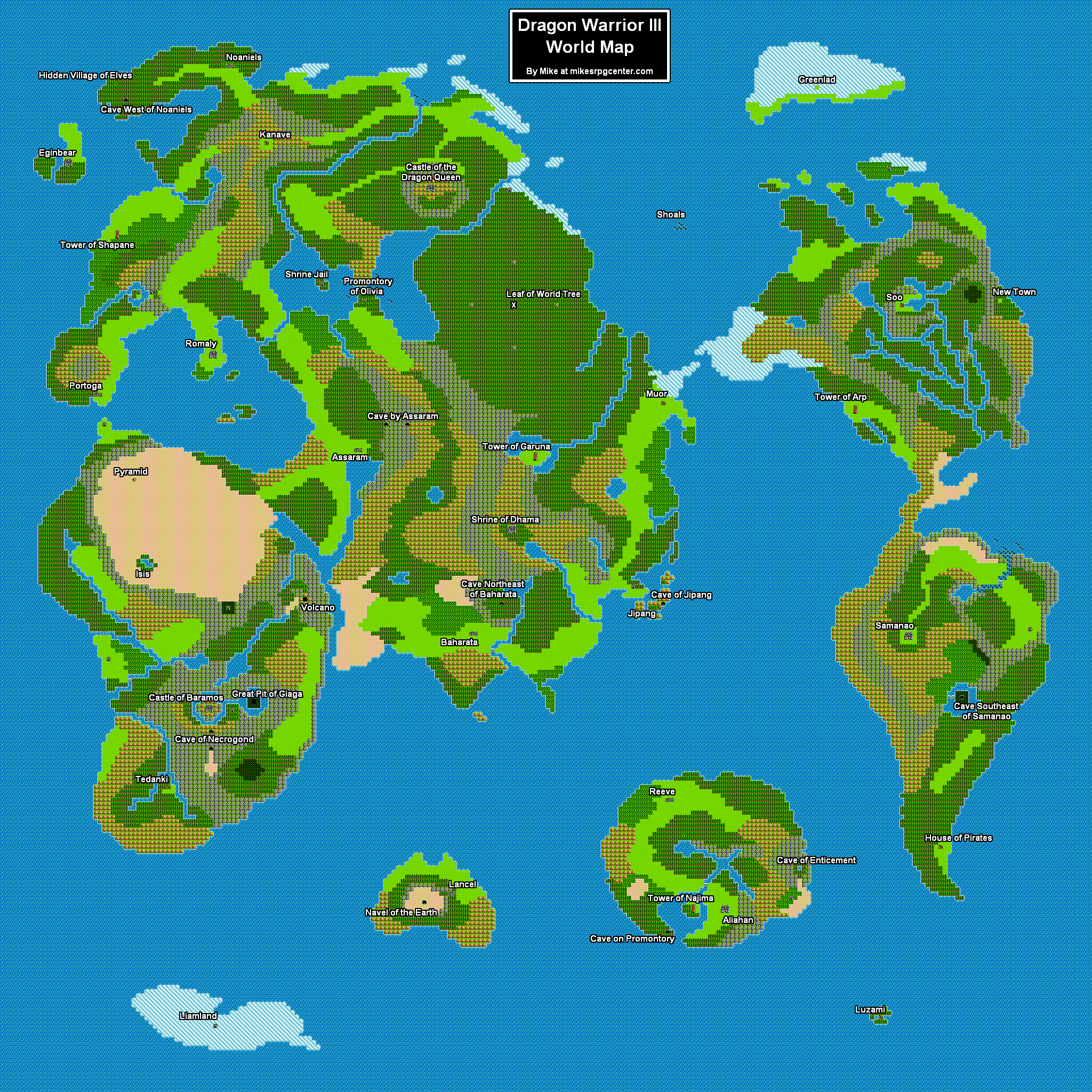 Dragon Quest 3 World Map dragon+warrior+3+world+map | Mike's RPG Center   Dragon Warrior