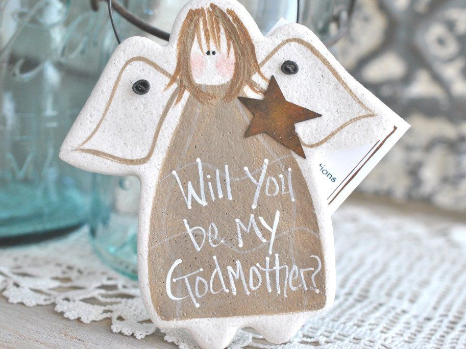 Godmother Gift Salt Dough Angel Ornament