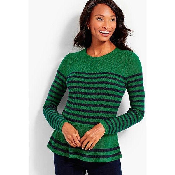Talbots Women's Striped Cable Peplum Sweater ($90) via Polyvore ...
