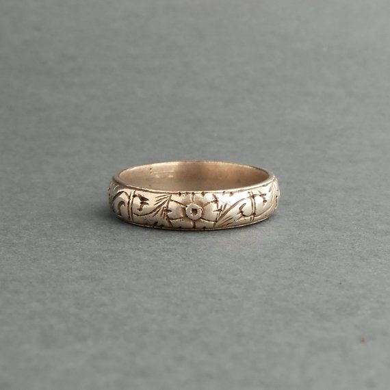 Antique Mens Wedding Ring 800 Silver Late Georgian Early Victorian Fl Band
