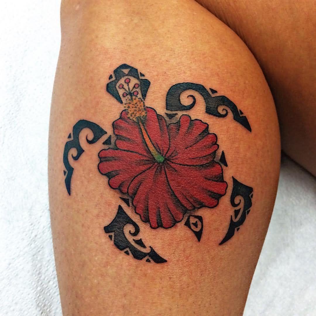 Hawaiian Flower Turtle Tattoo Design For Leg Calf | Tattoos ...