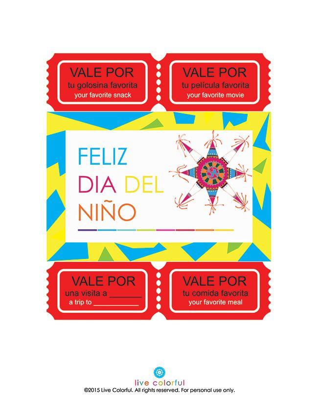 Cupones Bilingues Para El Dia Del Nino Imprimible Manualidades