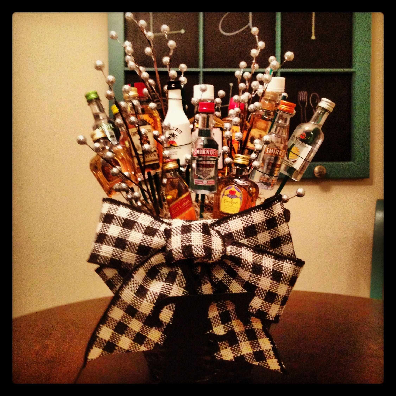 Liquor Bottle Centerpieces: Mini Liquor Bottle Bouquet