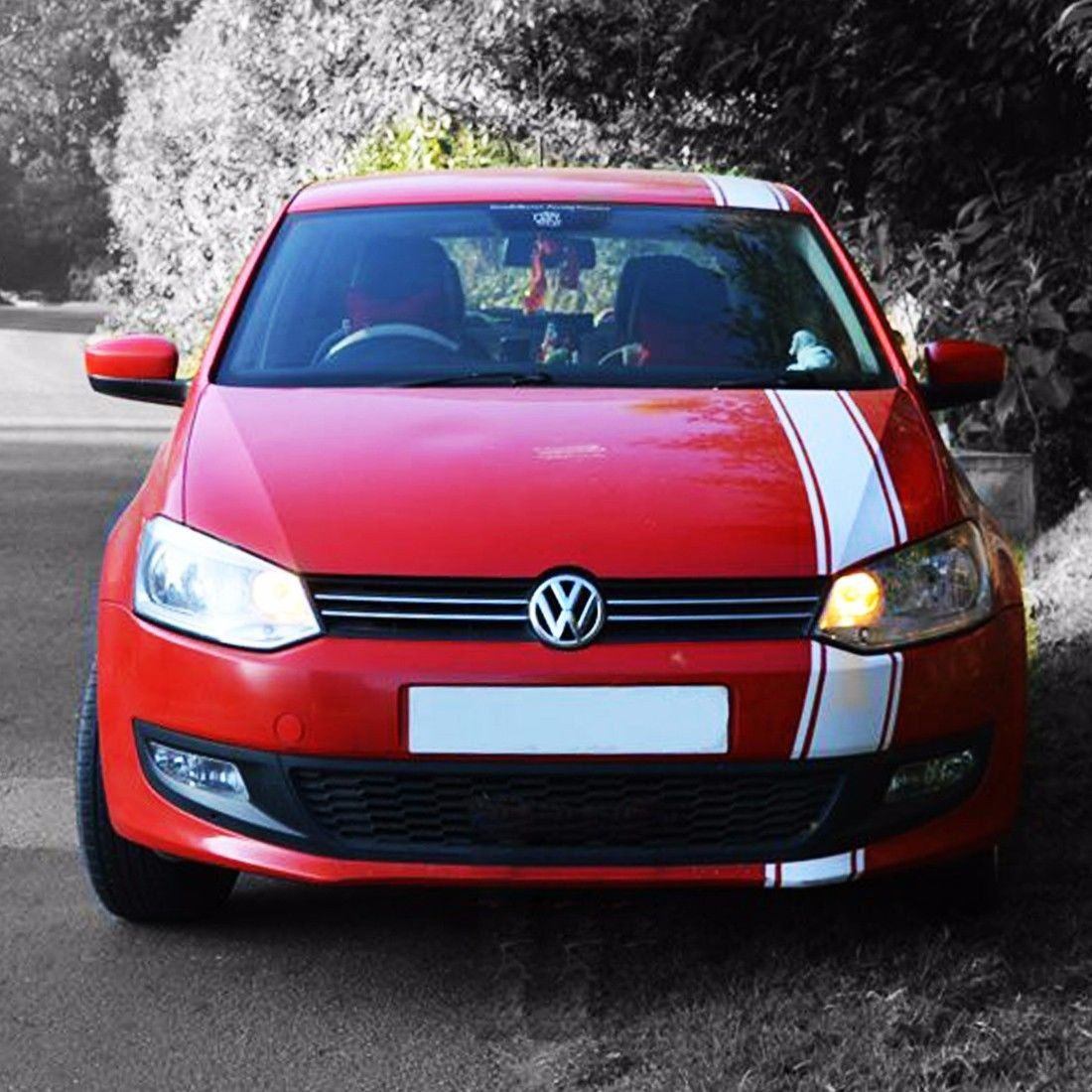Decal Sticker Graphic Racing Stripe Kit For Volkswagen Vw Polo 2009 2016 Hood Volkswagen Polo Stripe Kit Racing Stripes [ 1100 x 1100 Pixel ]