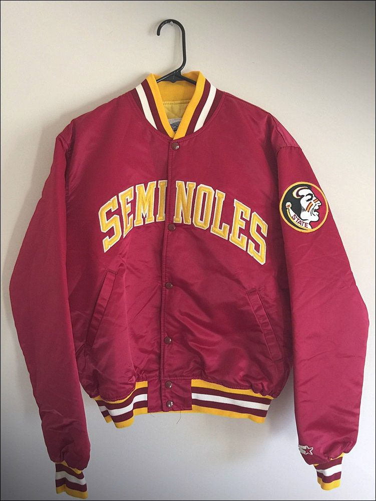 136663a9150 Vintage 80 s NCAA Florida State Seminoles Satin Starter Button Up Jacket -  Size XL by JourneymanVintage on Etsy