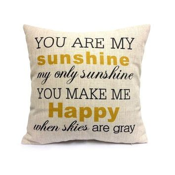You Are My Sunshine Linen Throw Pillow