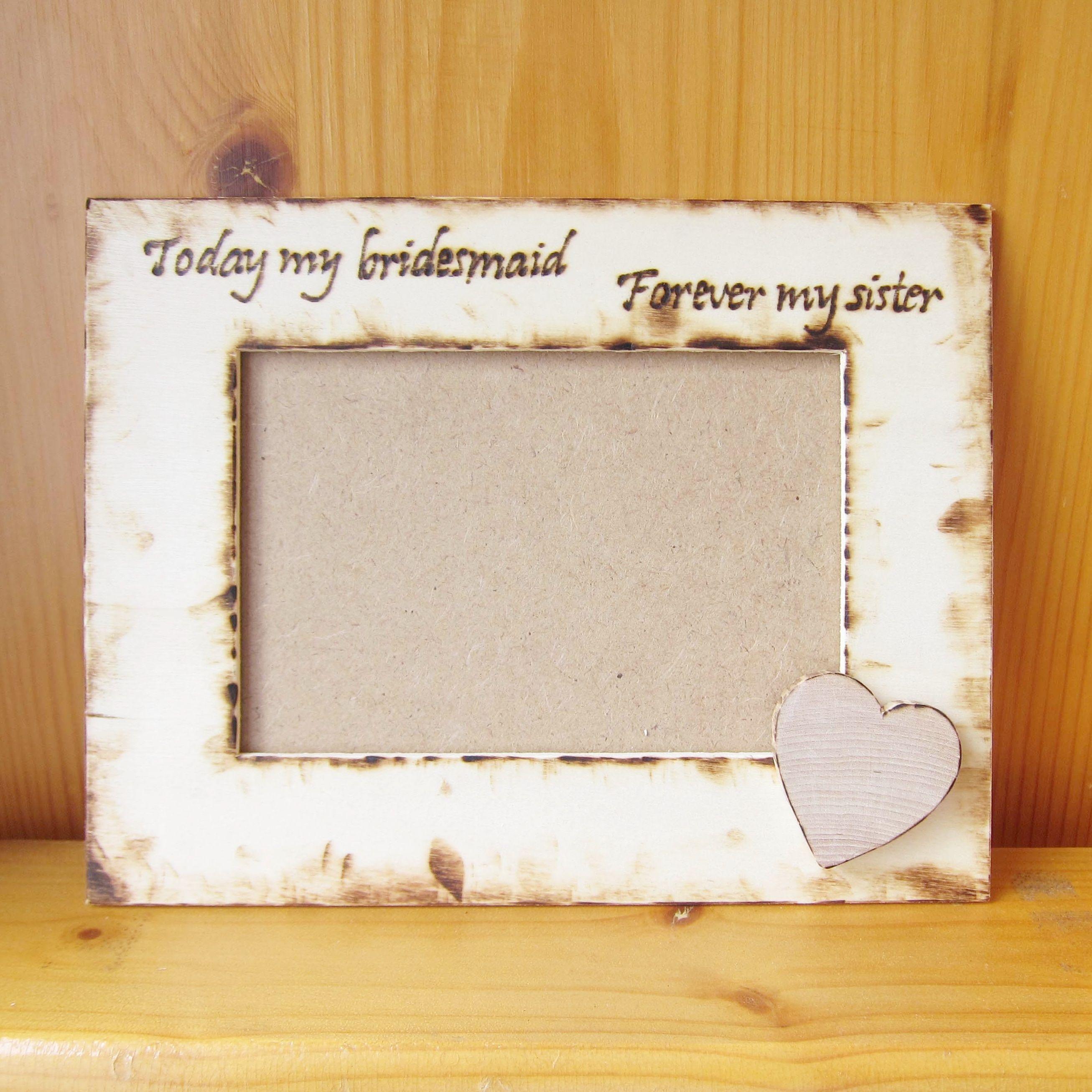 NEW! Custom Wood Burn Photo Frames for Bridesmaid   Kids Crafts ...