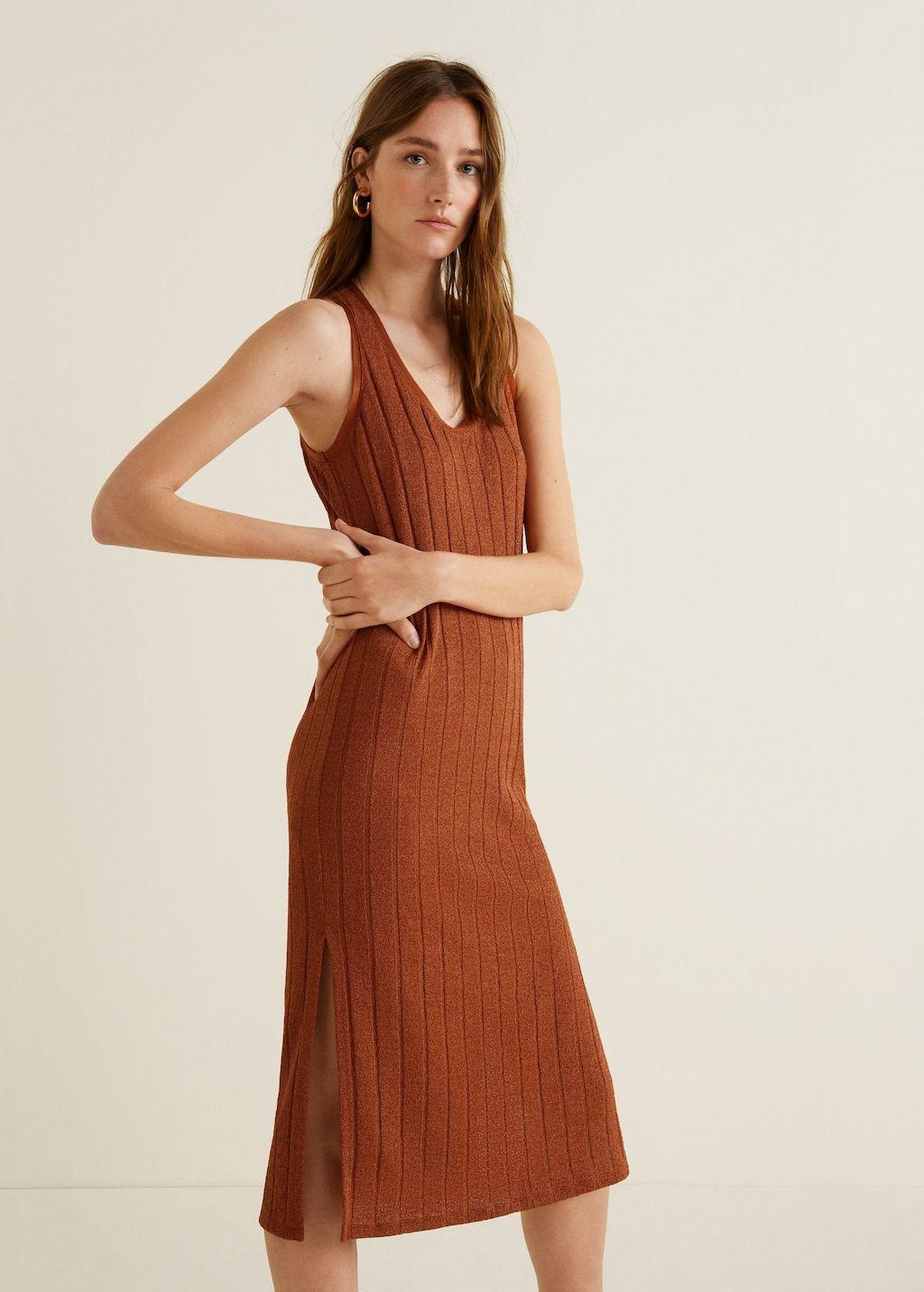 ef9b598c8e6337 Tricot jurk ribdetails - Dames