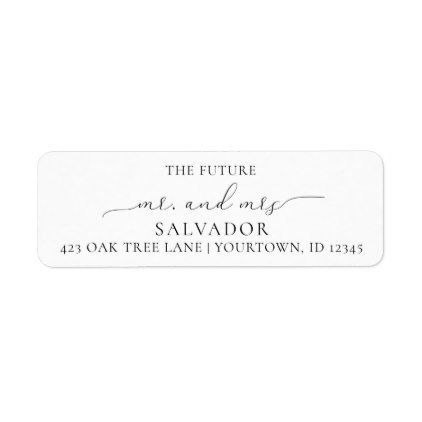 Return Address Labels Wedding Future Mr Mrs Return address and Wedding