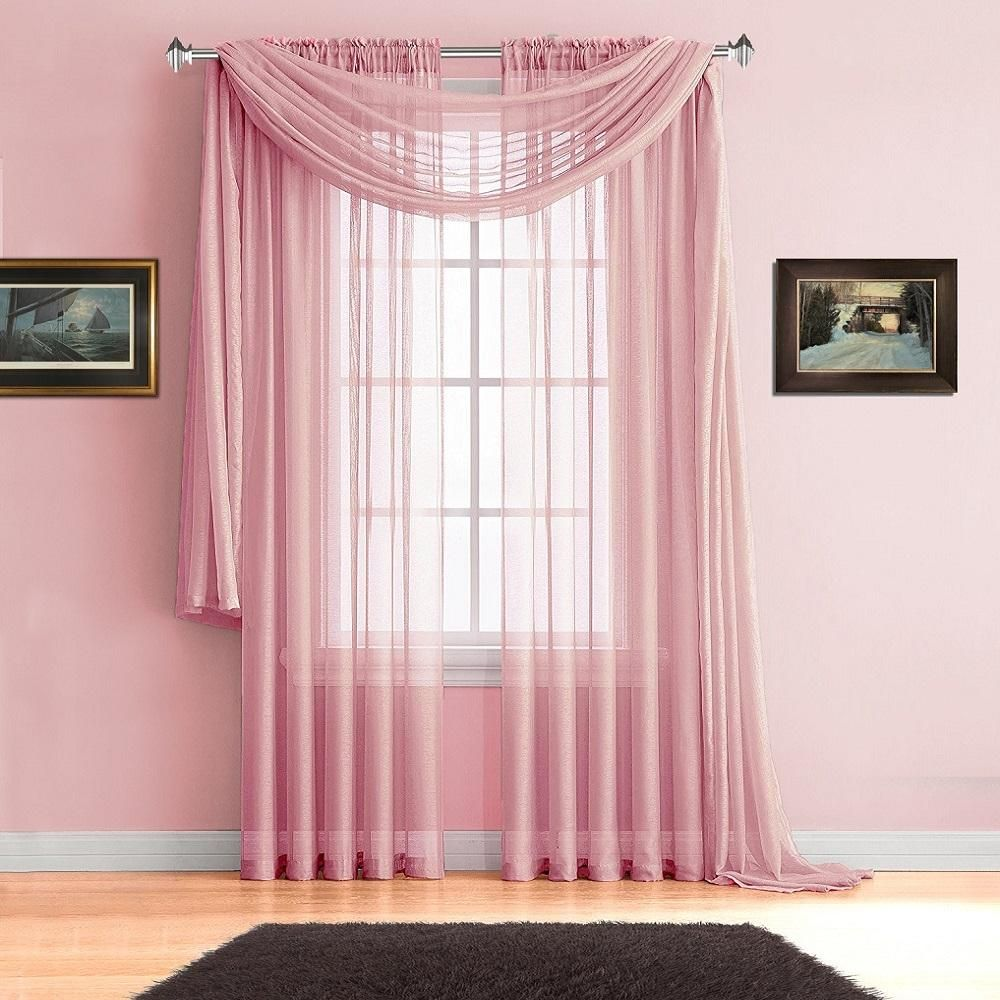 Warm Home Designs Premium Sheer Rose Pink Window Scarves