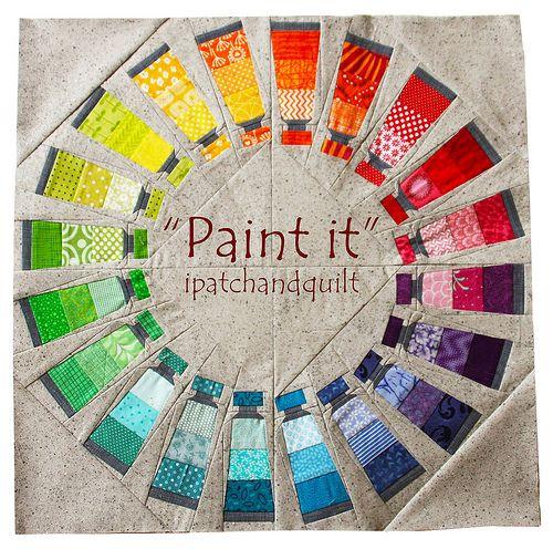 Rainbow paint paper pieced block   paint it - circle text by esthersipatchandquilt, via Flickr