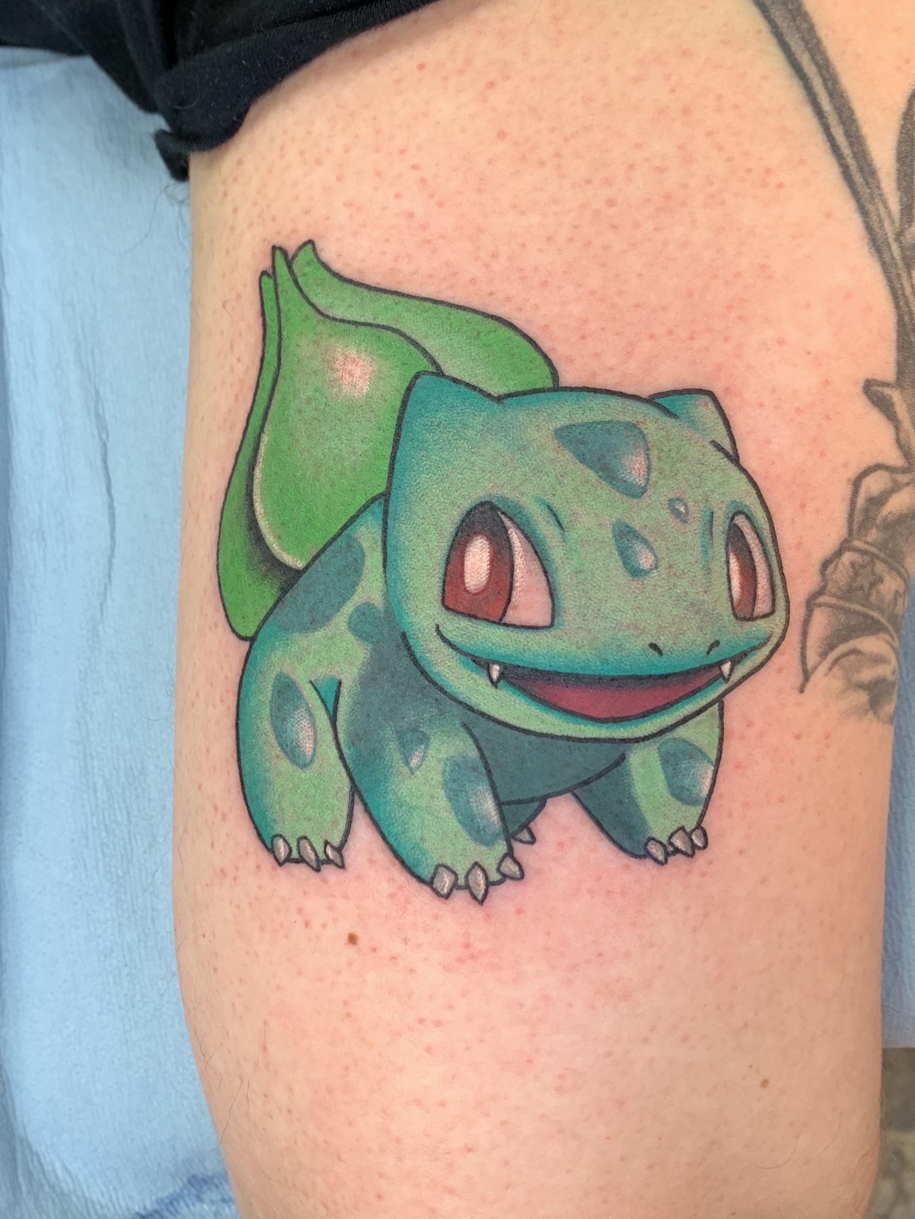 Bulbasaur by huka timeless tattoo in los angeles