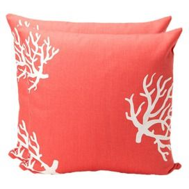 Coral Reef Pillow in Coral - Set of 2