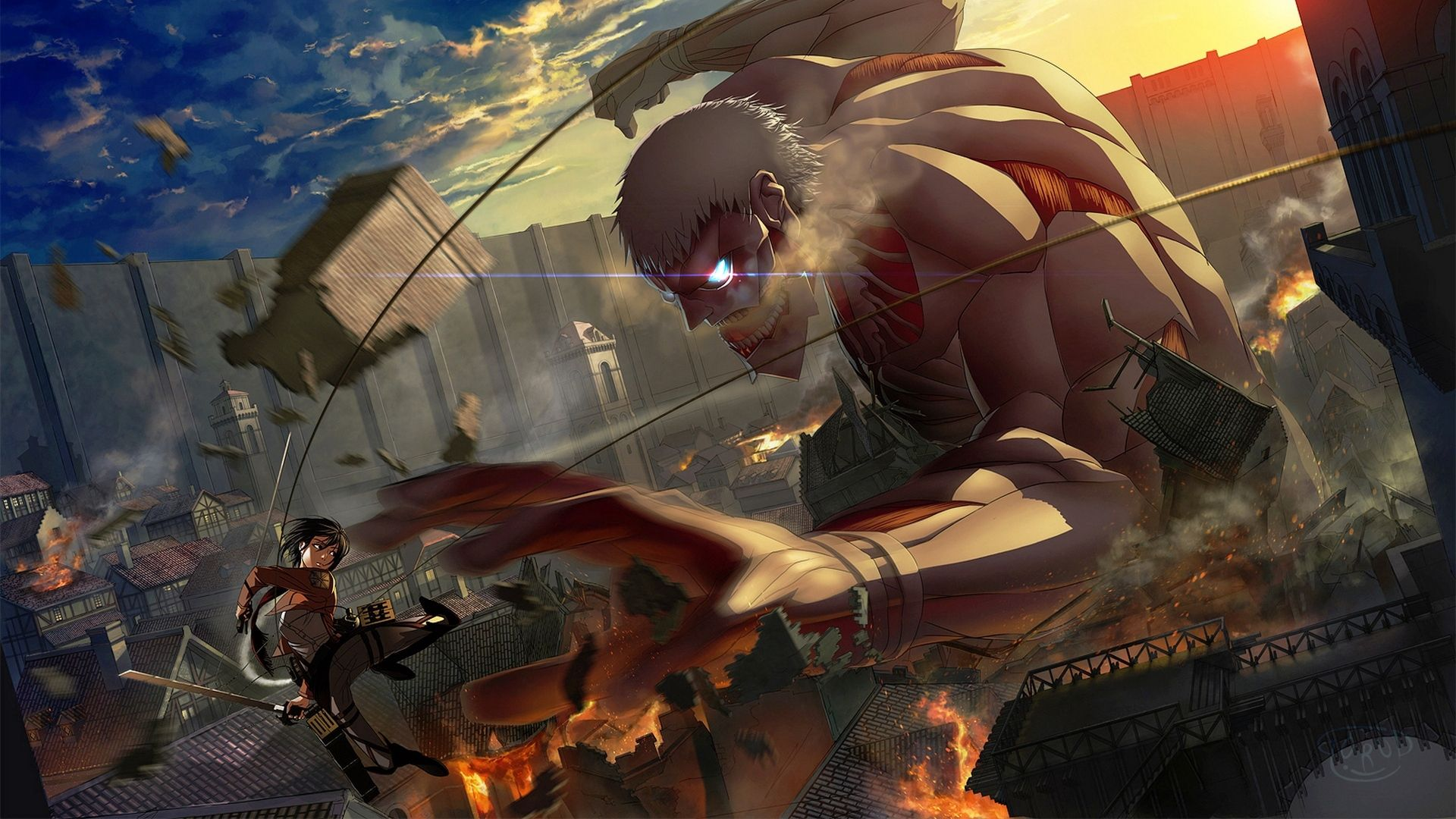 1920x1080 Wallpaper Mikasa Ackerman Shingeki No Kyojin Battle Papel De Parede Anime Attack On Titan Tita Encouracado