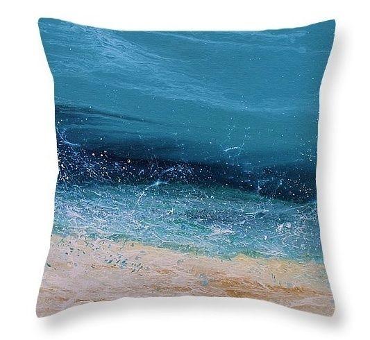 Splash 6B Pillow by  Coastal Living Art Purchase  Beach Pillow Purchase  Beach Pillow by Kimberly Conrad #beachart#beachpillow#throwpillow#interiordesign#seascape#nauticaldecor#ocean#kimberlyconraddesigns