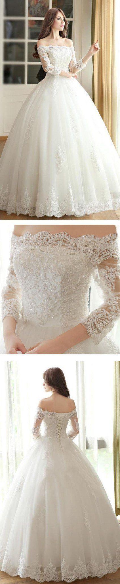 vantage off shoulder long sleeve white lace wedding dresses