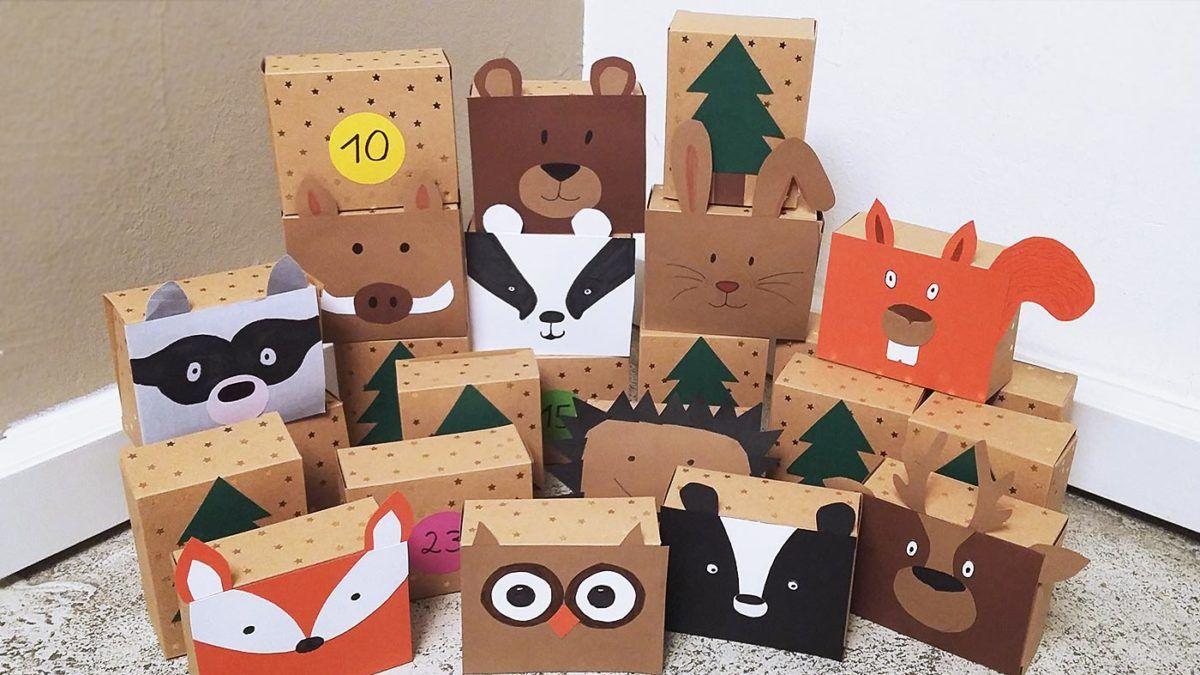 DIY Idee für Kinder: Selbst gemachter Adventskalender – Tiere im Wald  selbst basteln #adventskranzideenkinder