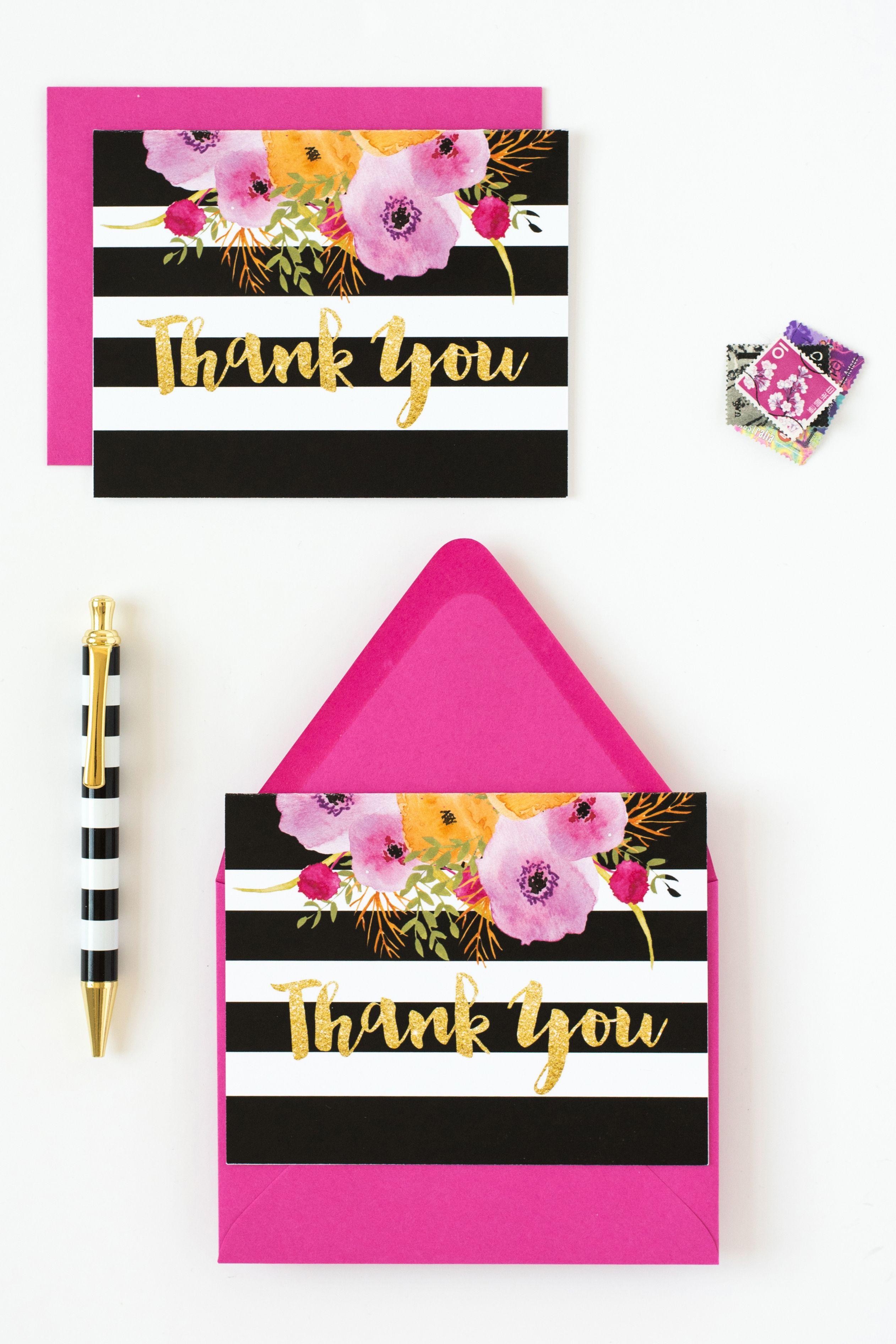 Thank You Card Black White Stripe Kate Spade Birthday Party Thank You Cards Kate Spade Bridal Shower
