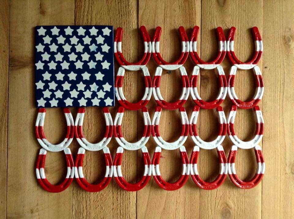 Horseshoe Flag Welding Art Projects Welding Crafts Horseshoe Crafts