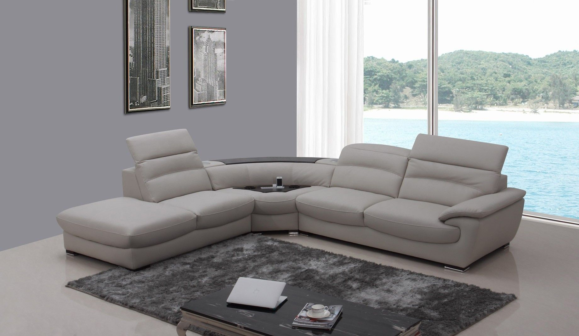 cool Luxury Grey Leather Sectional Sofa 39 For Your Home Decor ...
