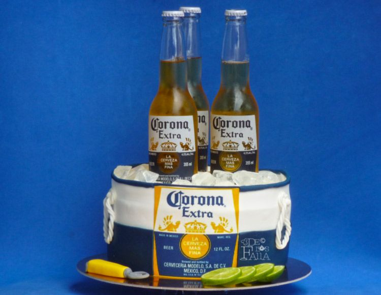 Ponque 3D Cerveza Corona  Cookies and pies  Pinterest  Cerveza