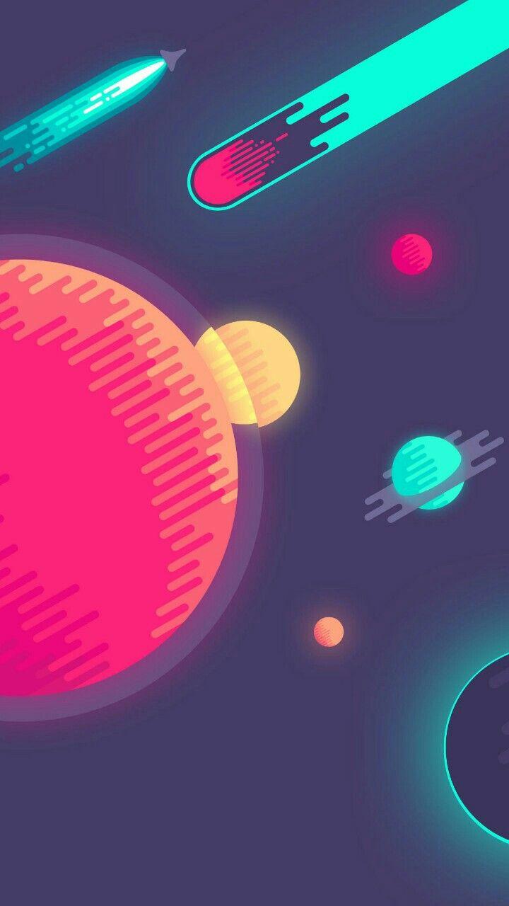 Fondo Del Espacio Animado Planetas Fondos Del Espacio Fondos De Galaxia Fondo De Pantalla Minimalista