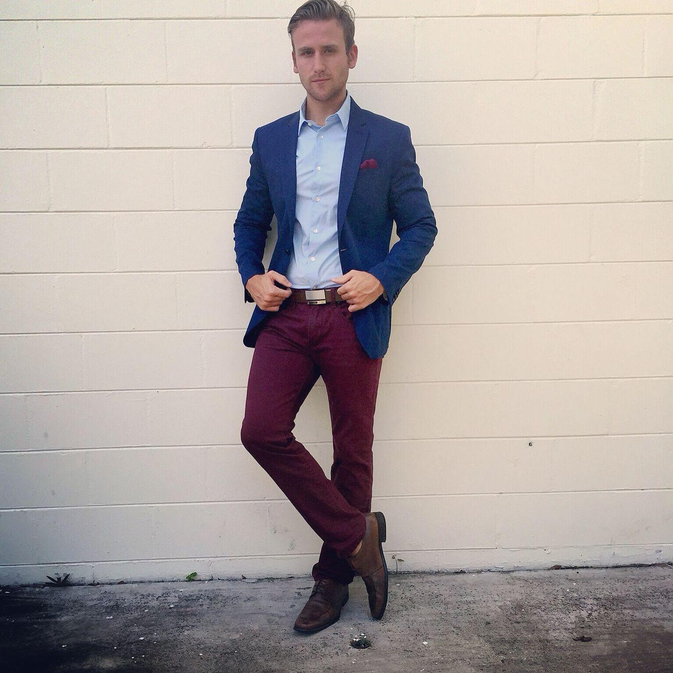 express  expressrunway  Burgundy  pants  Blue  blazer  shirt  brown   fashion  mens  ootd 018eef8b5