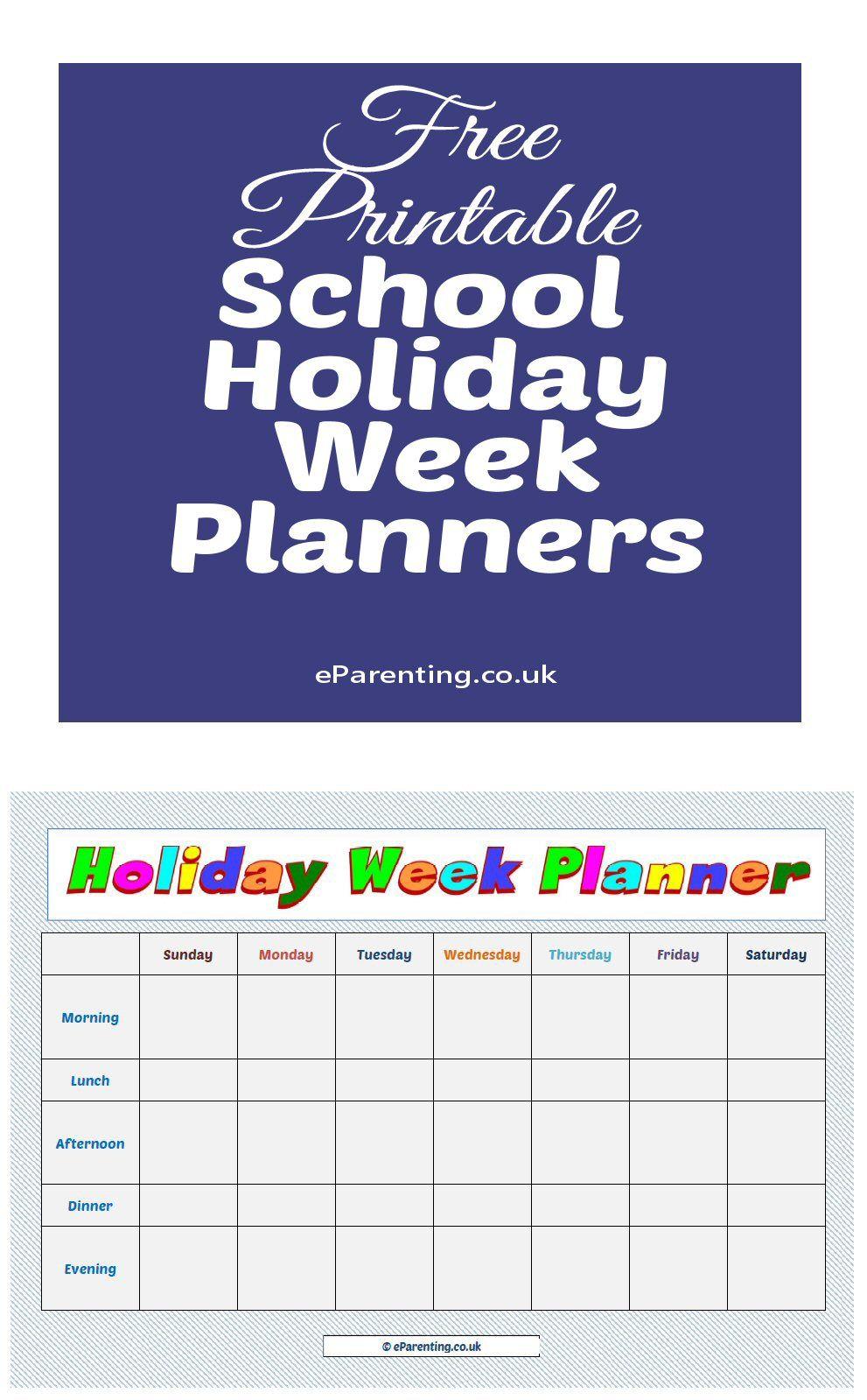 Free Printable School Holiday Week Planners