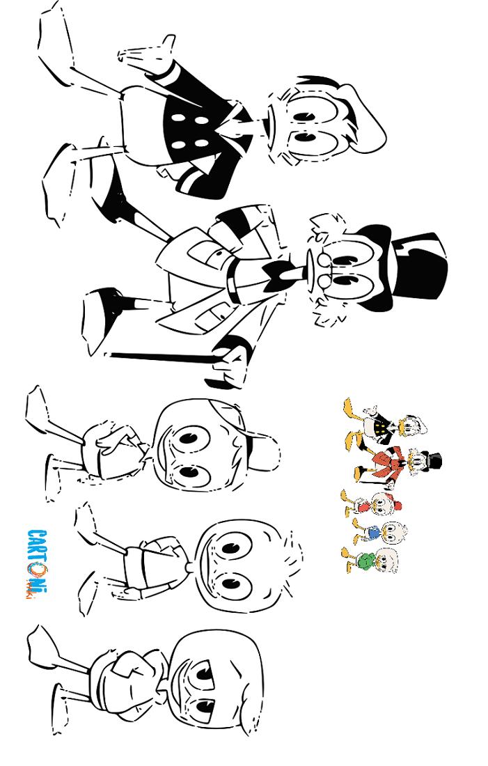 Cartoni animati stampa e colora i disegni di qui quo for Cip e ciop immagini da colorare