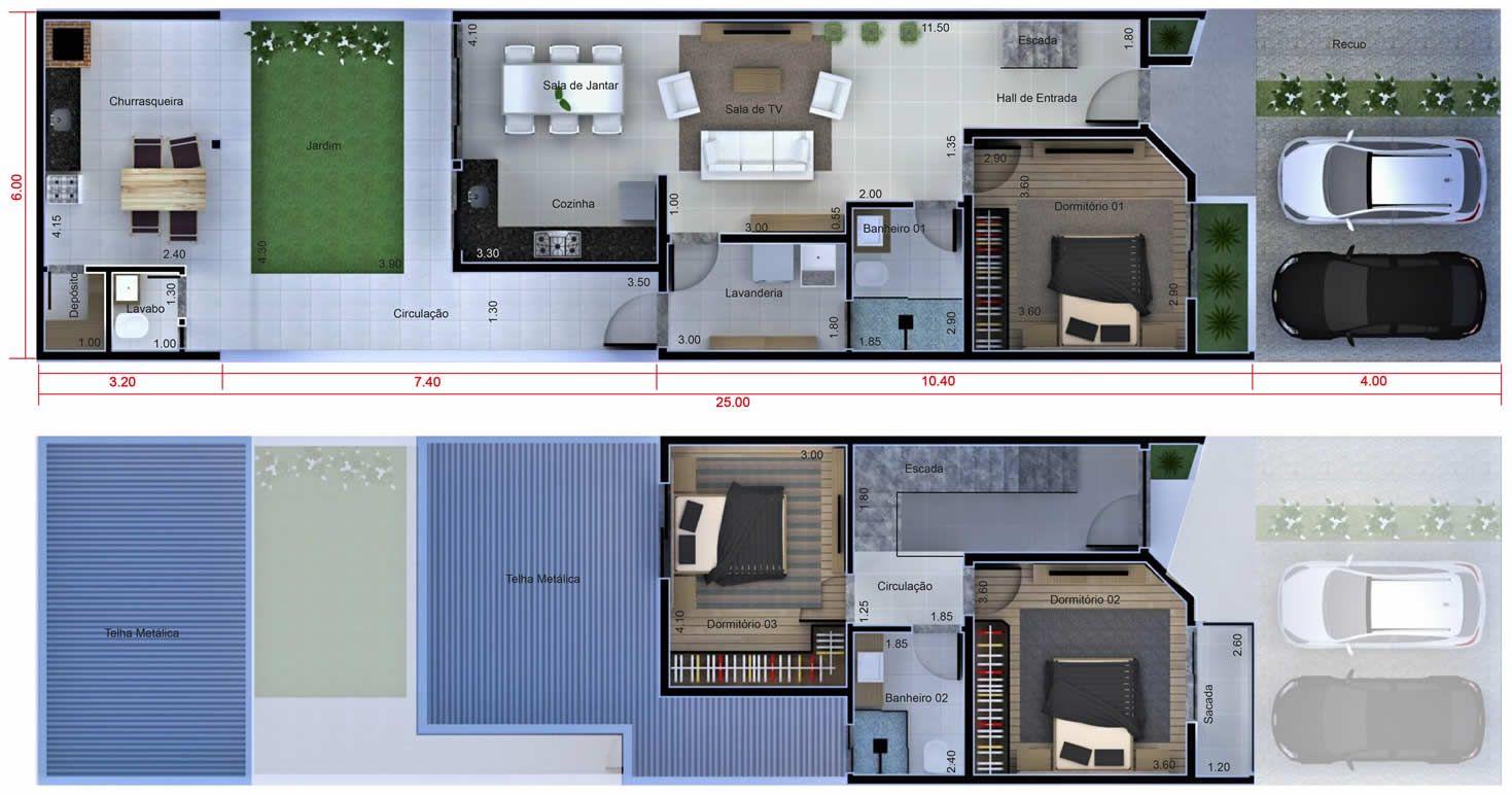 Plano de casa con dormitorio debajo plano para terreno for Planos de casas 5x25