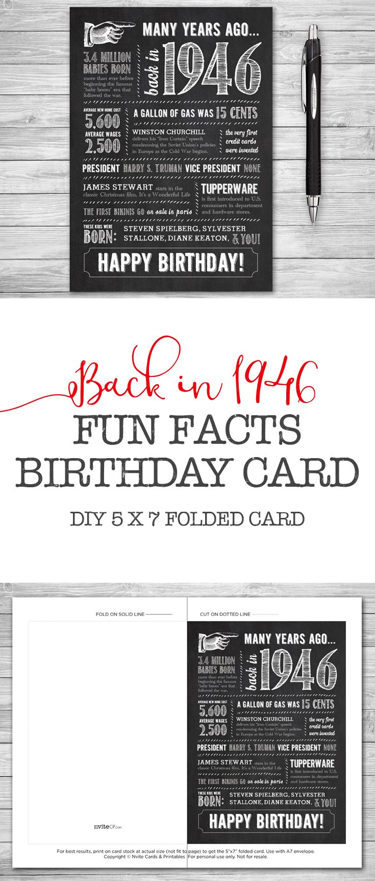 71st Birthday, Printable Card, 5x7 Folded, Many Years Ago Back in ...