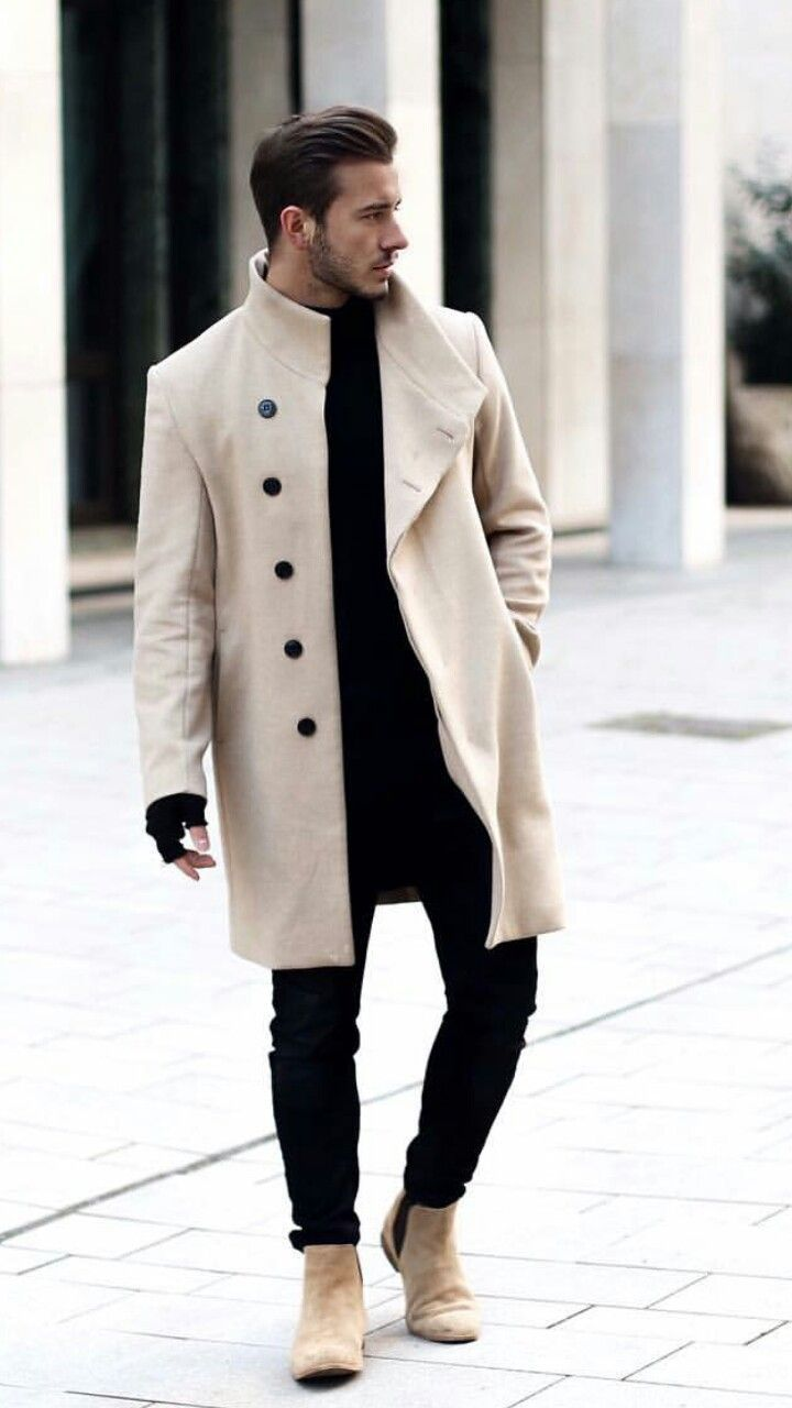 Mens fashion and style cream top coat threads game pinterest