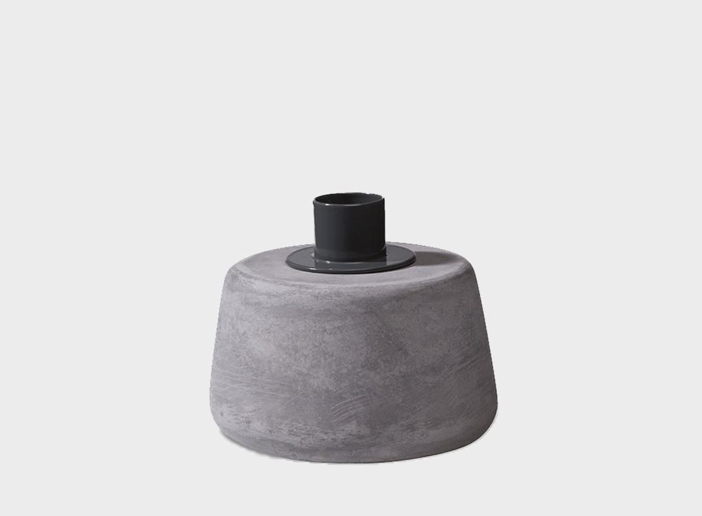 CONE CANDLE HOLDER - GREY - SHORT