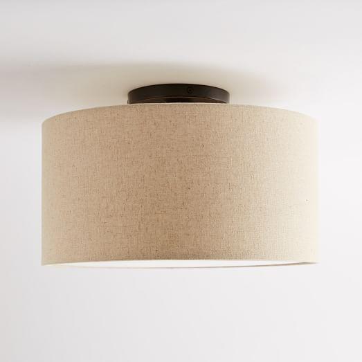 Fabric Shade Drum Flushmount Fabric Shades Drum Light Modern Flush Mount Lighting