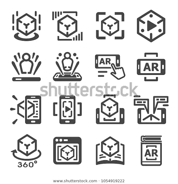 Augmented Reality Technology Icon Set Stock Vector