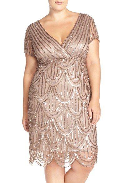 ba431fd183c Plus Size Womens Marina Beaded Empire Waist Dress Size 24W - Beige  189.00  AT vintagedancer.com