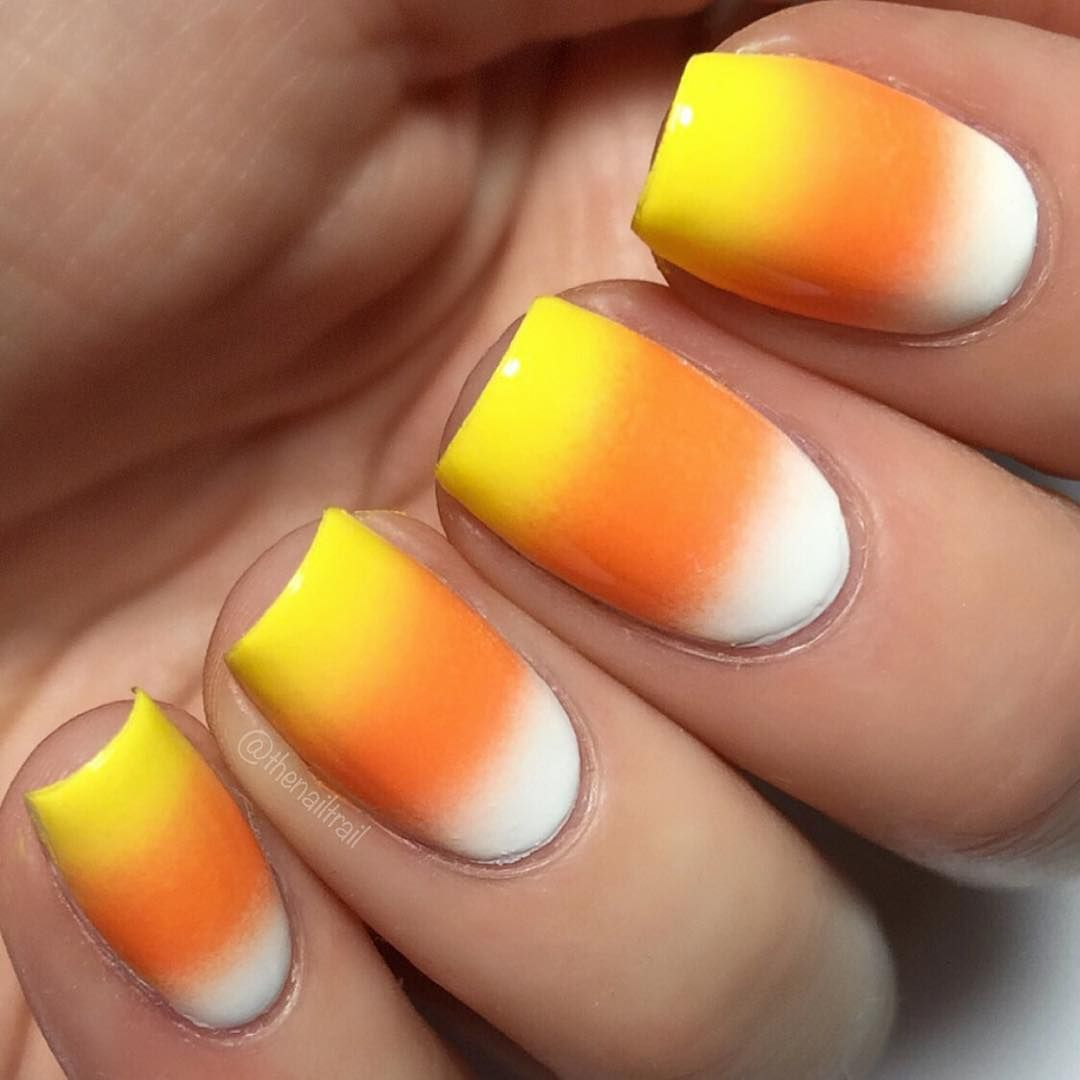 Candy Corn Ombre Nails From The Nail Trail 3 Ombre Nail Art Designs Nail Art Ombre Candy Corn Nails