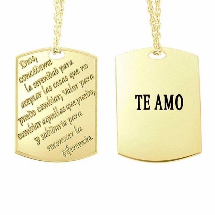 Spanish serenity prayer pendant in sterling silver with 14k gold spanish serenity prayer pendant in sterling silver with 14k gold plate 2 lines mozeypictures Images