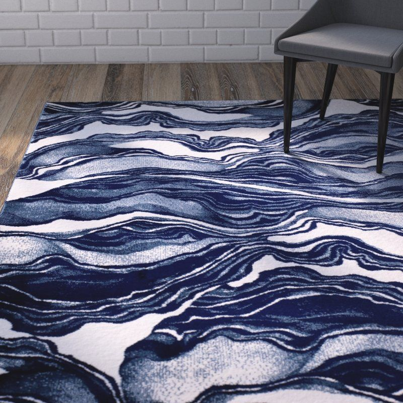 Cretys Abstract Navy Blue White Area Rug Area Rugs Rugs White