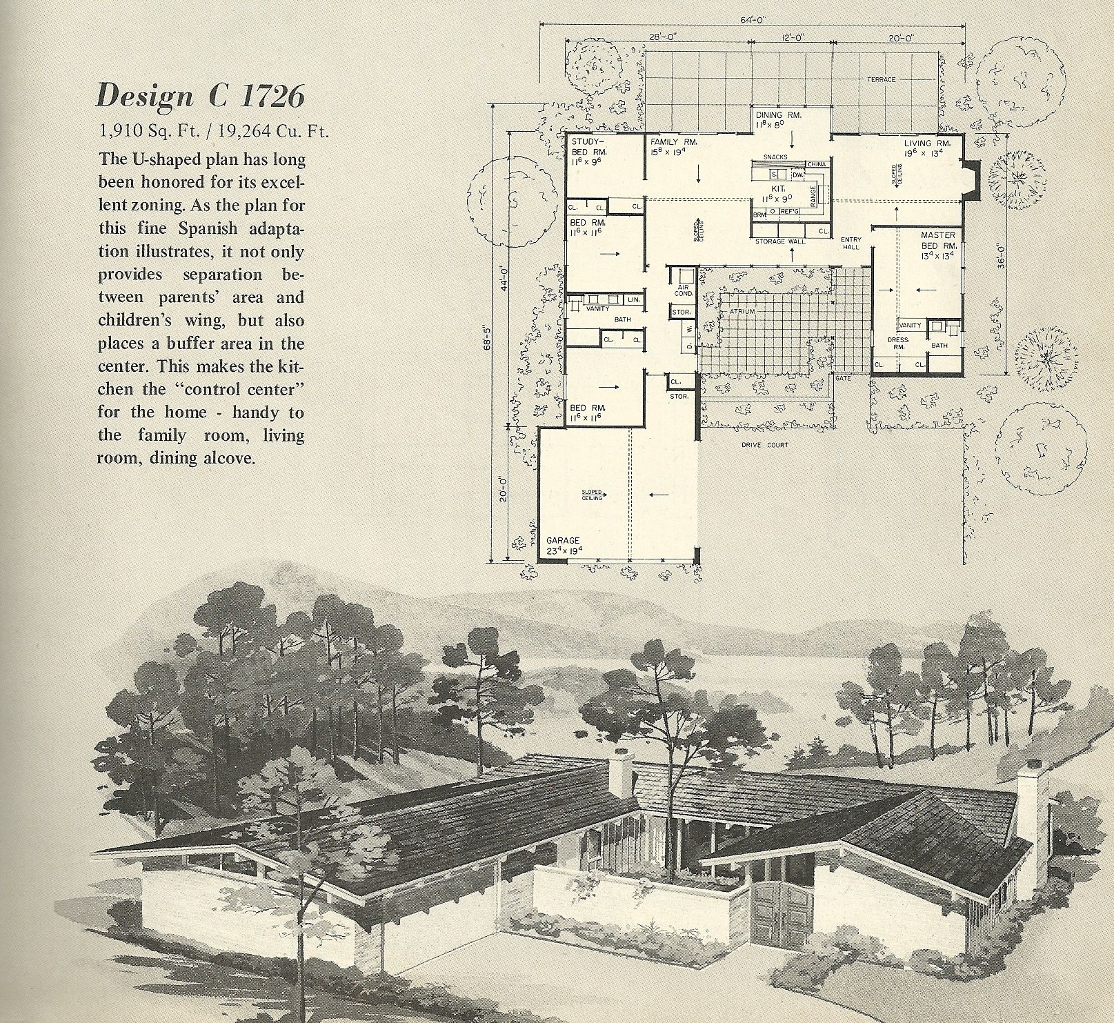 vintage house plan vintage house plans 1960s spanish style and mid century modern - Mid Century Modern Home Plans
