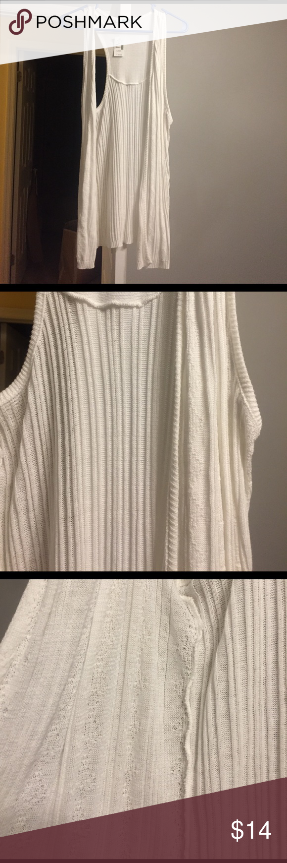 NWT Maurice's white sleeveless cardigan NWT sleeveless cardigan (duster is the term if it were longer, but it's not.) pure white with details in photo. XL- smoke / pet free home. Maurices Tops