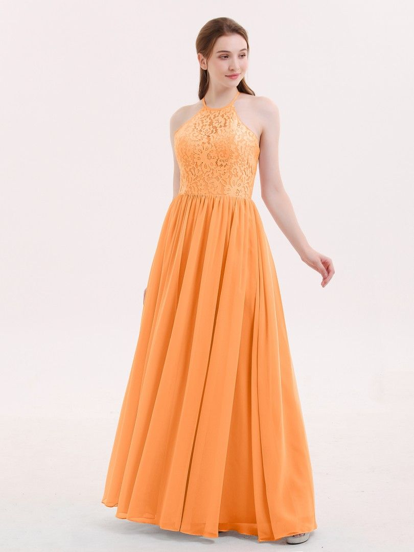 b2395362023 Babaroni Theresa Halter Long Gown with Lace Bodice