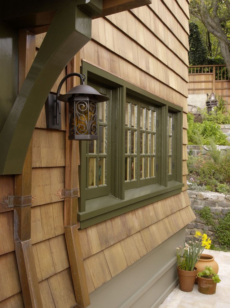 Copper gutters exterior rustic with casement windows green - Rustic home exterior color schemes ...