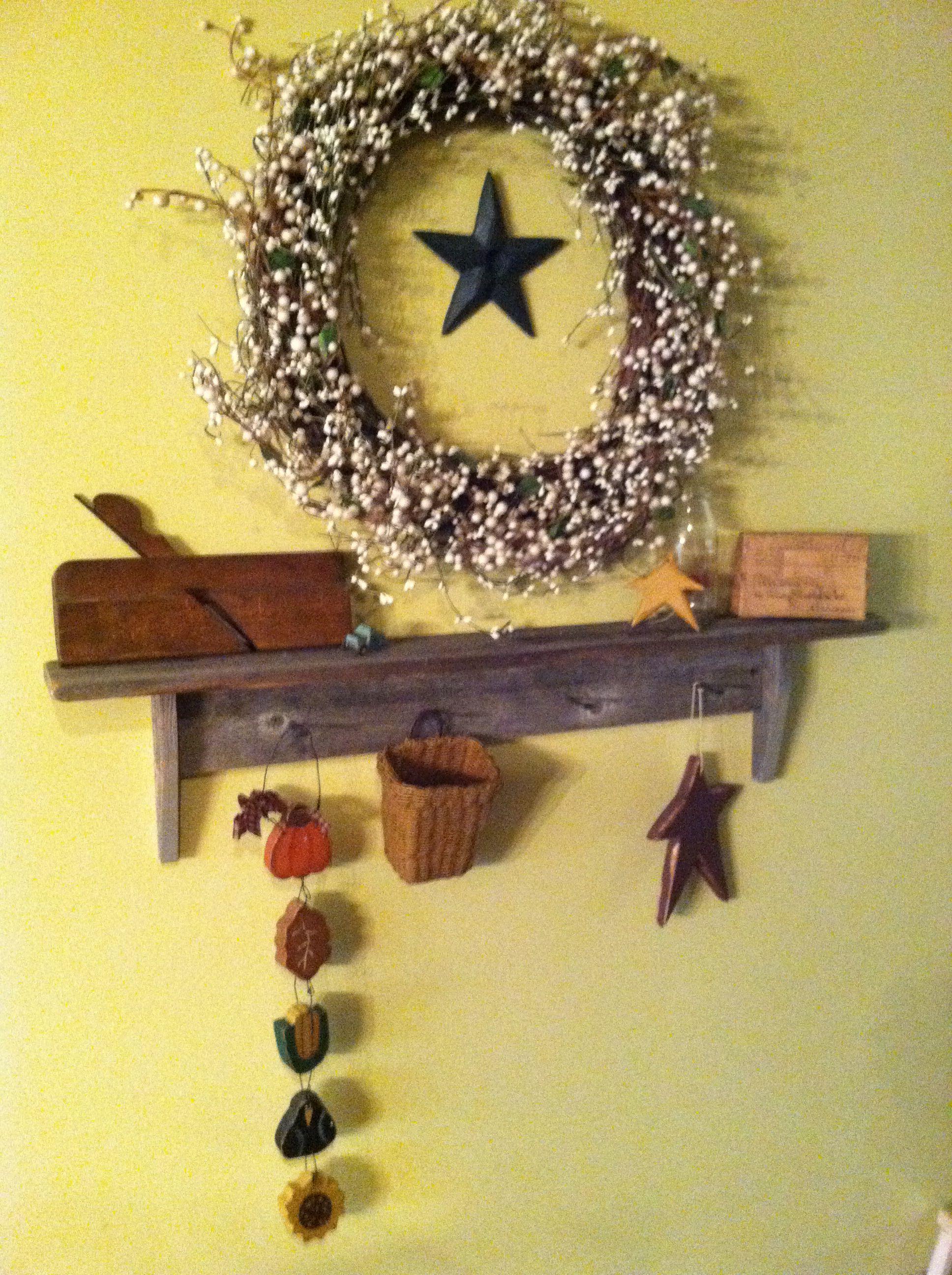 Shelf and wreath
