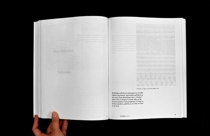 "yeju choi / 16 Texts Book, 8.5x10.5"", 866 Pages  A book made using the 16 thesis presentations of the 16 Yale Graphic Design MFA students. In an effort to push readers to engage themselves more deeply in content, I designed a book that had to be read slowly and carefully by separating text and images."